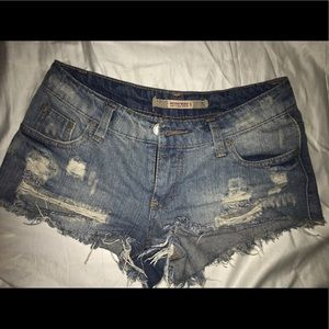 Highway Jeans Pants - Low rise distressed denim shorts