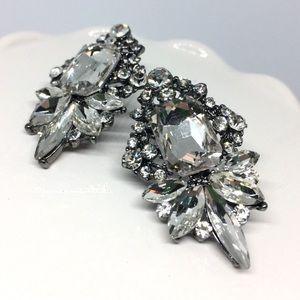GRETA Crystal Statement Drop Earrings Silver