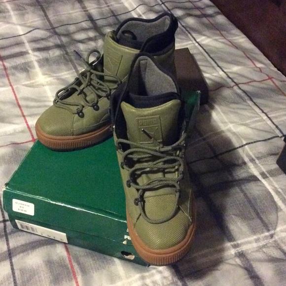 green puma boots