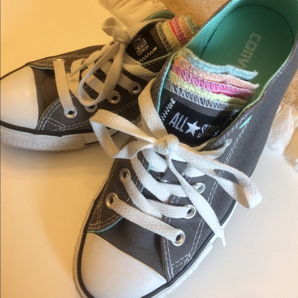 c81b47eabc11 Converse Shoes - Grey All Star Converse  RARE  Multi-Color Tongue