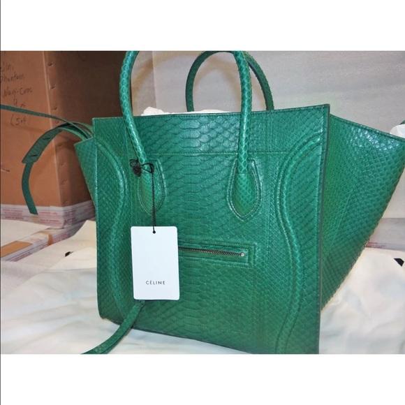 Celine Phantom Luggage Tote Emerald Green Python aa37885763fa9