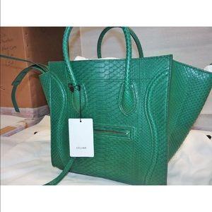Celine Handbags - Celine Phantom Luggage Tote Emerald Green Python