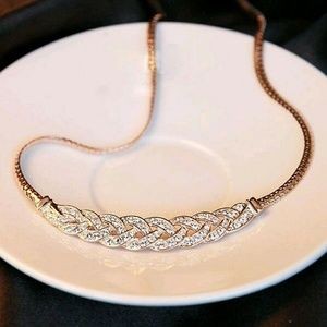 Jewelry - New!! Braided Crystal Gold Choker Necklace