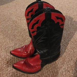 Tony Lama Shoes - Red and black cowboy boots