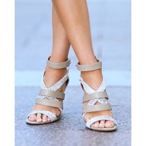 Sole Society Shoes - Sole Society Taupe Snake Wedge Strappy Sandals