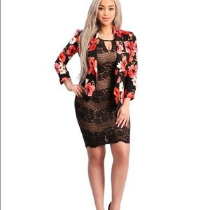 Floral soft blazer with collars