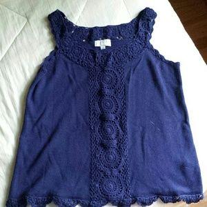Joseph Allen Tops - Blue Crocheted Knit Tank with Scalloped Edge