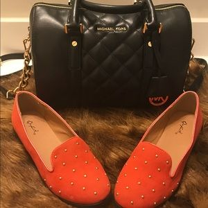 Qupid Shoes - 🦊Orange Studded Flats🦊