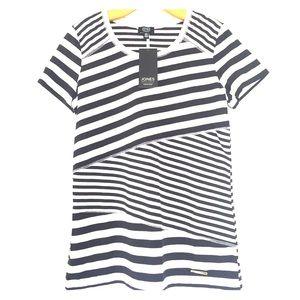 Jones New York Black and White Striped T-Shirt