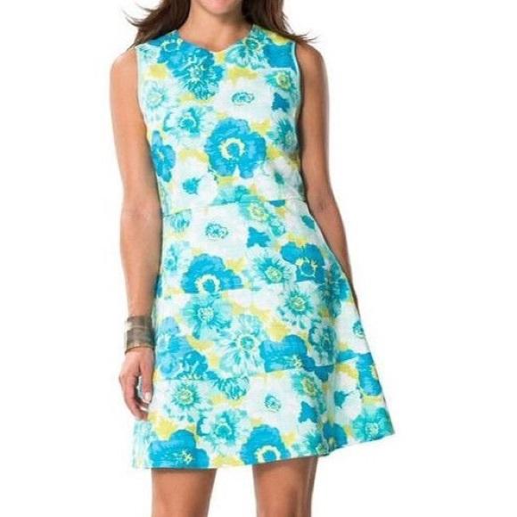 Sail To Sable Dresses Bnwt Blue Flower Basketweave Dress