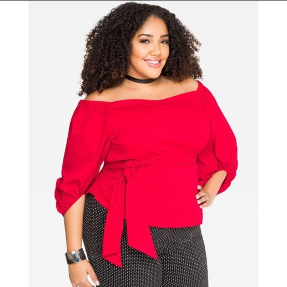 29822d04cf7 Ashley Stewart Barbados cherry red top. NWT