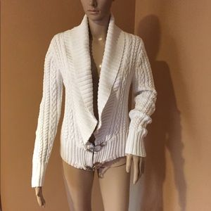 Ralph Lauren White Cable Cardigan Sweater Size M
