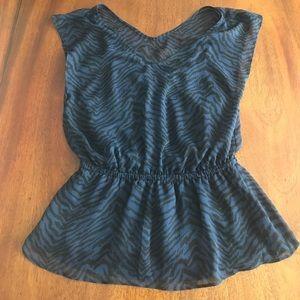 Express Black and navy animal print blouse