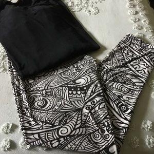 Pants - Black and White Tribal Leggings