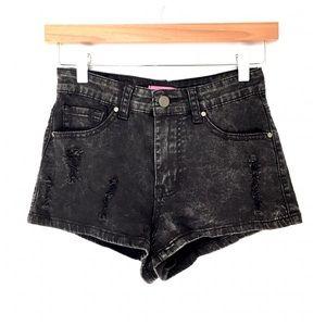 Pants - Black Mineral Washed Shorts