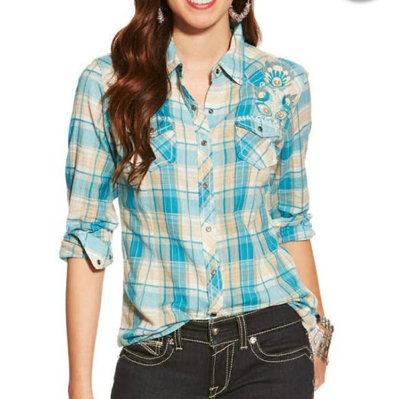 850ae77c Ariat Tops | Spirit Snap Shirt Embroidered Western Plaid | Poshmark