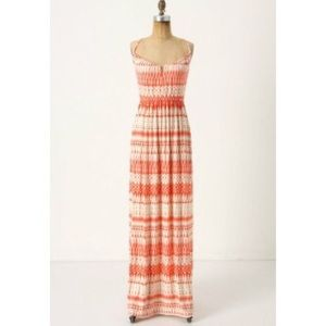 Anthropologie Orange and White Maxi Dress Sz Small