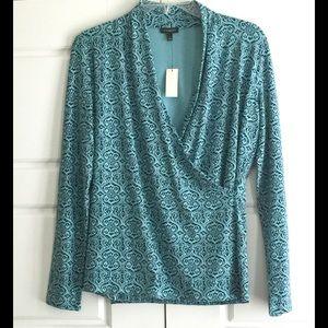 Turquoise Gorgeous Print Faux-Wrap Top