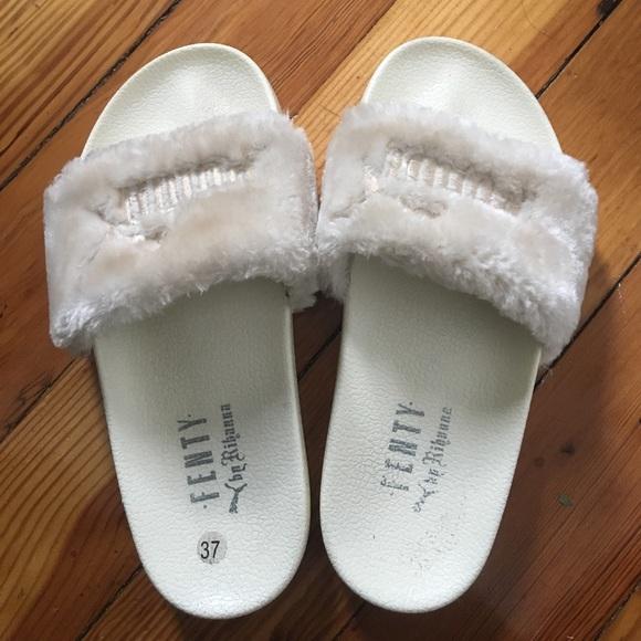 bb60e8a00b93 Fenty by Rihanna white fur slides. Puma stitching.  M 594d49057f0a05025c00ae7a