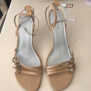 Shoes - Strappy, tan heels.