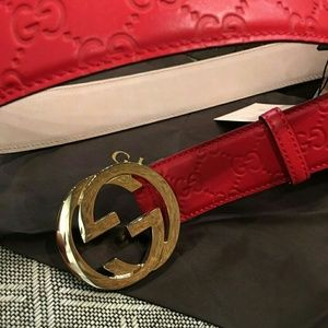 Gucci Other - New Gucci Red Signature Supreme Leather Belt