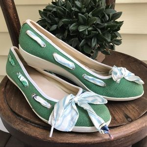 Sperry Top-Sider Shoes - Women's Sperry green canvas style slide on shoes