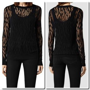 All Saints Tops - All Saints Black Web Top