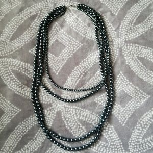 Long Layered Pearl Necklace