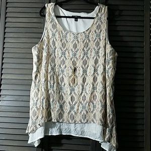 AGB Tops - Cute Layered Top with Attached Necklace