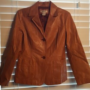 Camel Colored Retro 100% Leather A-line Jacket