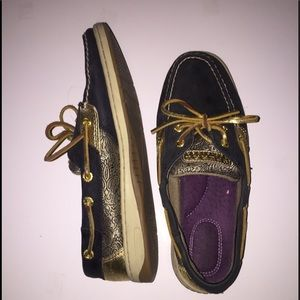 Sperry Top-Sider Shoes - Sperry Boat Shoes in Black & Gold