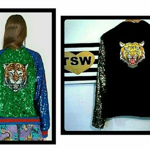 SEQUIN TIGER GOLD BLINGED OUT BLAZER JACKET