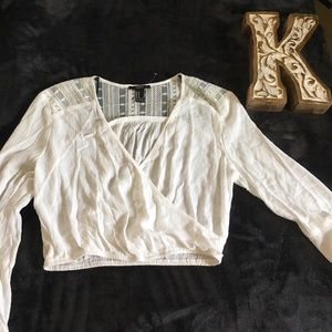 F21 NWOT White Crop Top with long Bell sleeves