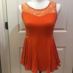 Miss Finch Tops - Orange lace peplum top