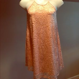 Peach Love California Dresses & Skirts - NWOT Boutique Peach Floral Lace Dress Small