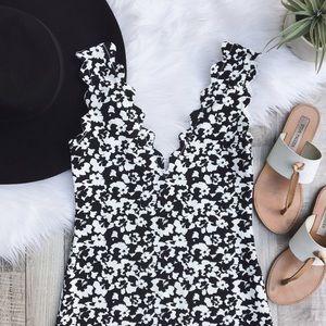 "Marysia Swim Dresses & Skirts - Marysia Resort ""Amagansett"" Black Hibiscus Dress"