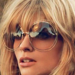 Large Round Lens Vintage Style Sunnies Gold Frame