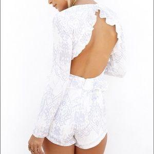 White Long Sleeved Sabo Skirt Romper