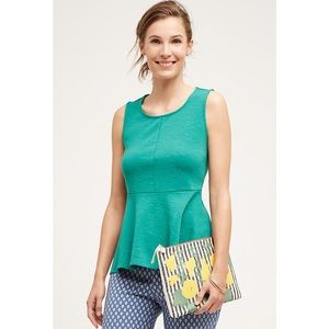 Anthropologie Tops - Anthropologie Deletta Savona Green Peplum Top