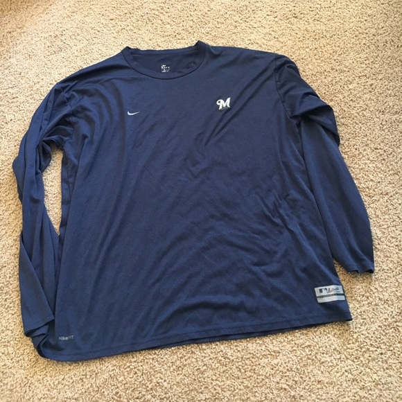 63 off nike other men 39 s nike fitdry navy long sleeve for Xxl long sleeve t shirts