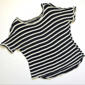 Kut from the Kloth navy rope knit stripe top shirt