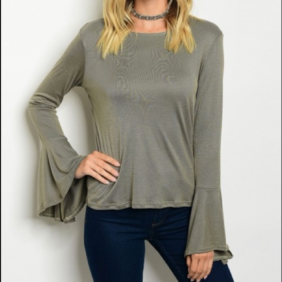 7c6bc2ed2167 Olive green long sleeve bell sleeve top shirt