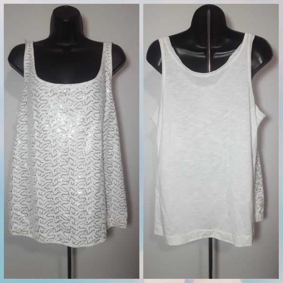 Lane Bryant - Size 14 white and silver sequin tank top ...