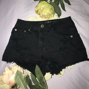 American Eagle Outfitters Pants - American eagle black denim distressed shorts