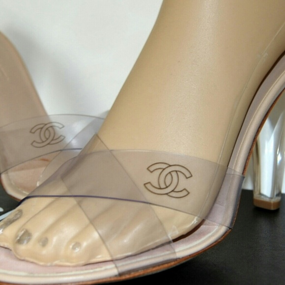 Chanel Clear Slide Sandals Cc Lucite