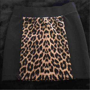 Black and leopard print skirt