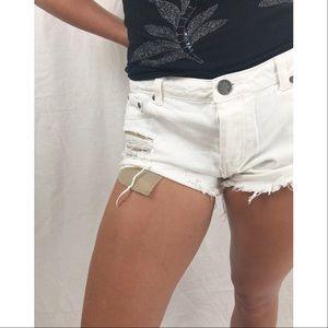 Pants - Ivory Distressed Denim Shorts