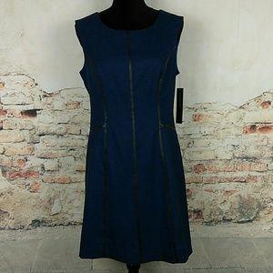 NWT Andrew Marc Sz 8 Blue Black Sheath Dress