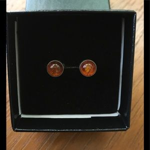 Sterling Silver Amber Post Earrings