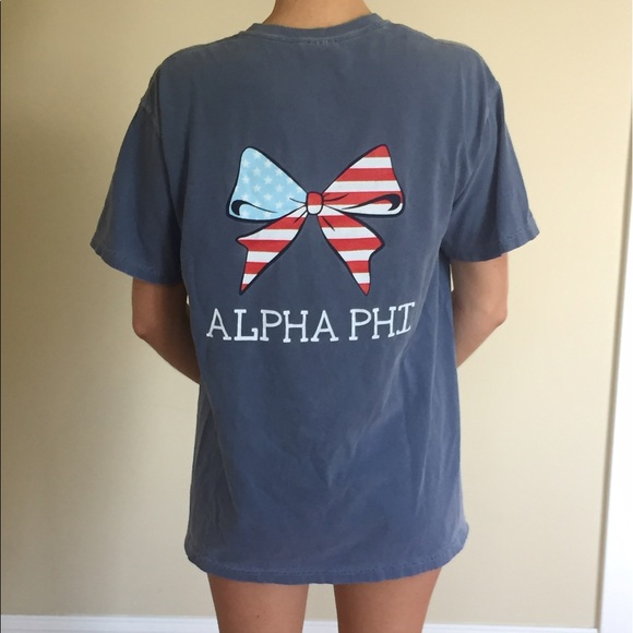 9fb4f7dc Comfort Colors Tops - Comfort Colors Alpha Phi T-Shirt Washed Denim (M)